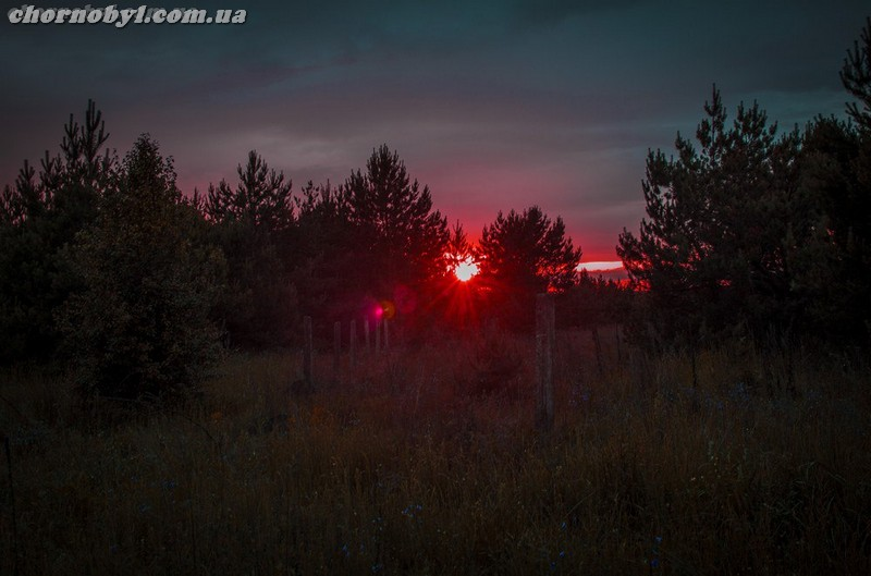 Sunset in the Chernobyl zone